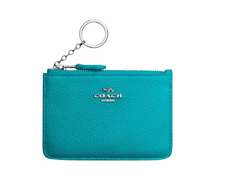 NWT Coach Key Pouch In Polished Pebble Leather Turquoise And Silver Wristlet