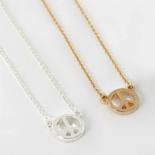 """CUTE PEACE SIGN NECKLACE 0.5/"""" Small Tiny Pendant Gold Silver Tone Chain Jewelry"""
