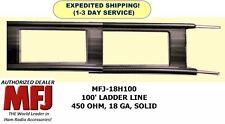MFJ-18H100 100 Feet Twin Lead Ladder Line, 450 OHM, 18 GA, Solid Copper/Steel