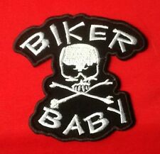 SKULL AND COSSBONES BABY BIKER MOTORCYCLE CHOPPER BIKE BADGE IRON SEW ON PATCH