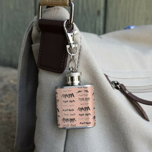 All the Eye Lashes Pattern Stainless Steel 1oz Mini Flask Key Chain