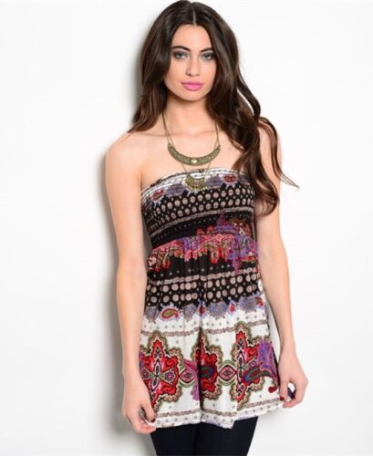 Strapless Multi-Color Abstract Print Top with Smocked Bodice L Boutique S M
