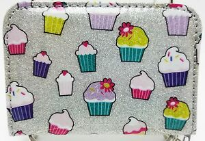 Teen-Girls-Glitter-Cupcakes-Zippered-Bi-Fold-Wallet-Purse-with-Key-Ring-New
