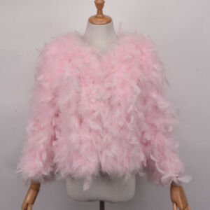 Ivory real hairy Ostrich Feather furry Fur coat jacket bolero bridal size S-XXL