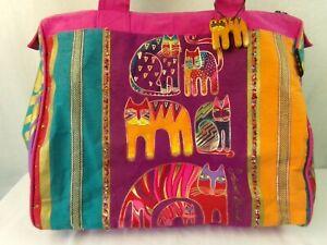 Laurel-Burch-Cats-Hot-Pink-Canvas-Tote-Handbag-Zip-Top-Vintage