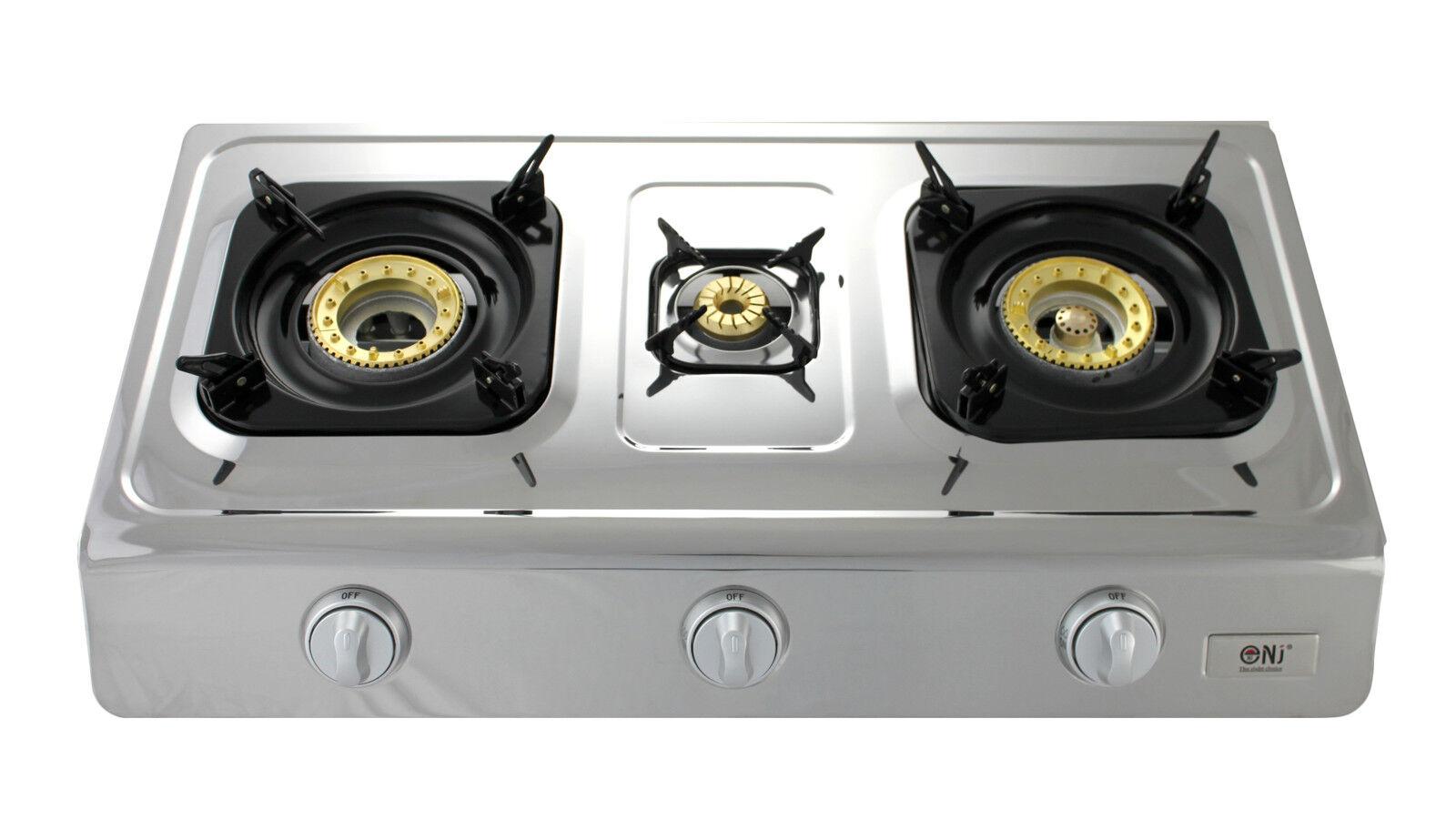 NJ NSD-3 Portable Gas Stove 3 Burner 70cm Stainless Steel Indoor Caravan 8.0kW