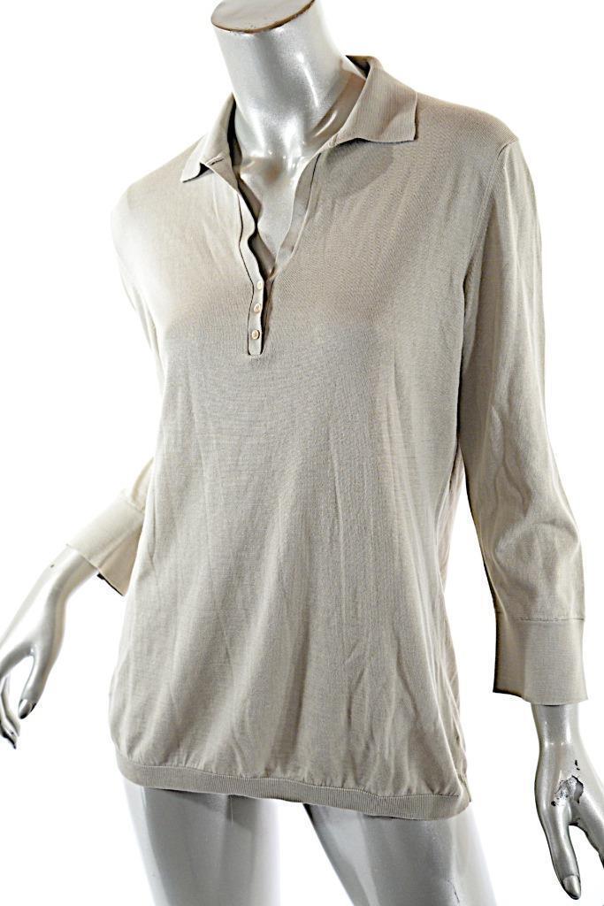 LGold PIANA Khaki Cotton Silk Blend 3 4 Sleeve POLO Sweater  SOFT  Sz 46 US 10