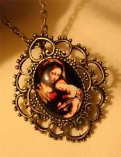 Scallop Rim Brasstone Renaissance Madonna & Christ Child Cameo Pendant Necklace