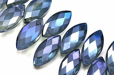 9x 25mm Large Frosted Faceted Pointed Oval Cut Glass Crystal Beads