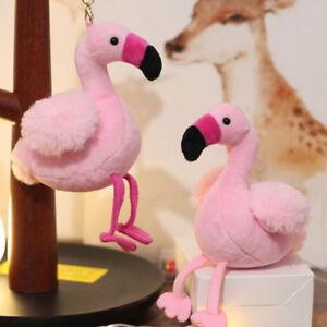 Flamingo-Plueschtier-Schluesselbund-Anhaenger-Stofftier-Schluesselanhaenger-RucksaYT
