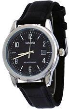 Casio Men's Analog Solar Power Stainless Steel Black Leather Watch MTPVS01L-1B2