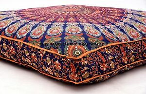 Indien-Paon-Mandala-Sol-Coussin-Oreiller-Coussin-Carre-Housse-Meditation-Brode