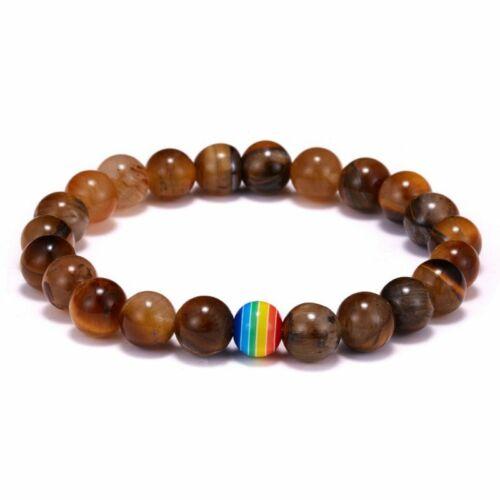 Fashion pierre naturelle Résine LGBT gay pride paix Perles Bracelet Arc-en-Couple