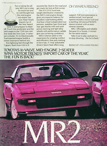 1985 TOYOTA MR2 Lot of (3) Genuine Vintage Ads ~ Mid-Engine ~ FREE SHIPPING!