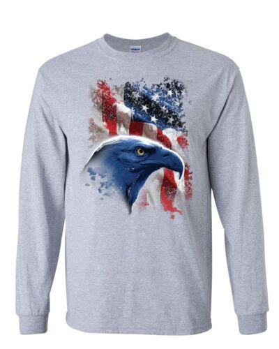 American Bald Eagle Long Sleeve T-Shirt American Flag 4th of July Patriotic Tee