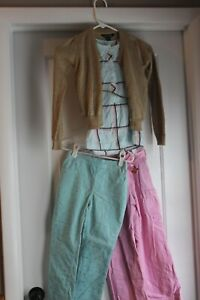 Girl Size 6 CorduroyPink and Green Pants with Tunic Shirt and Gold Cardigan Out