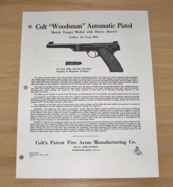 Colt Woodsman Match Target Pistol Manual 22 Caliber M 4