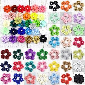 10-80Pc-Upick-Satin-Ribbon-Flowers-Bows-w-Rhinestone-Appliques-Craft-DIY-Wedding