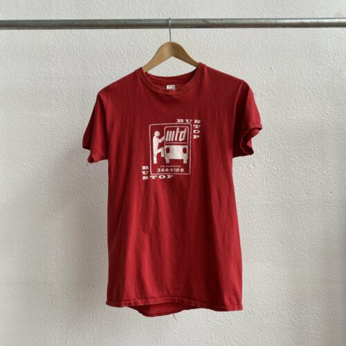 Vintage 70's Bus Stop Tee Red hipster Cool Punk -