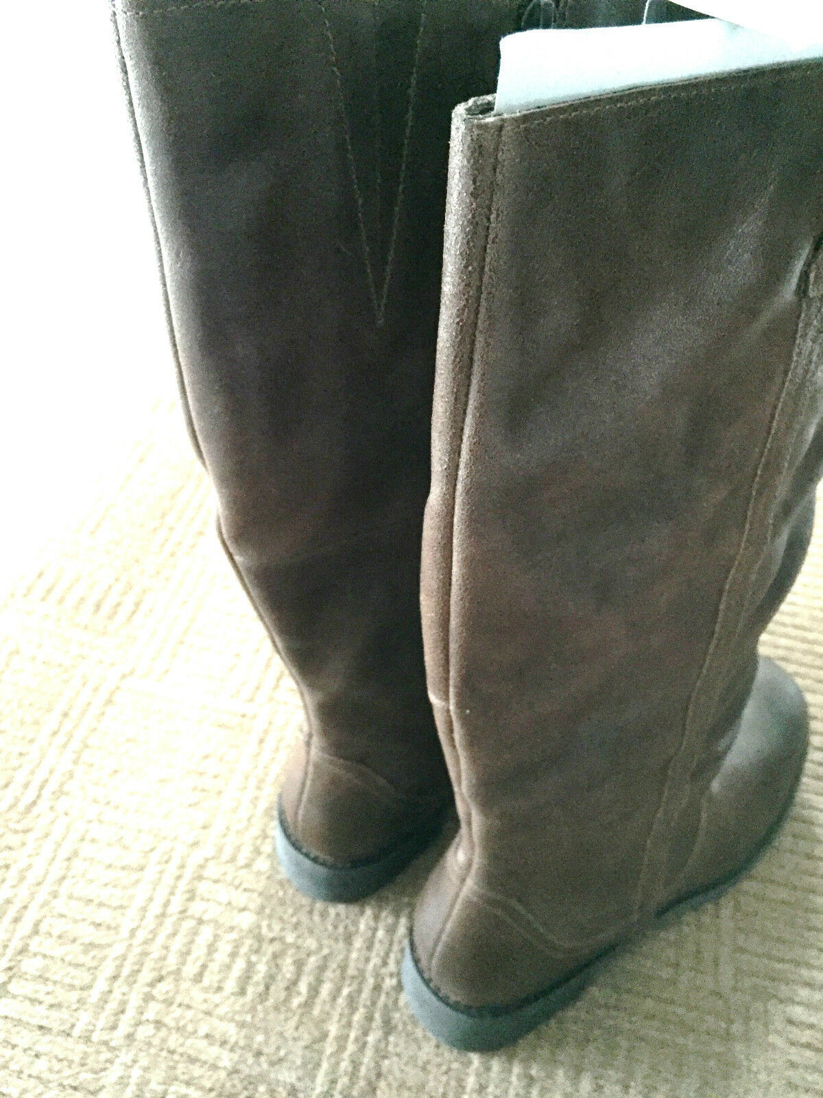 SIMPLY BE BROWN 100% GENUINE LEATHER CALF LADIES Stiefel E WIDE FIT