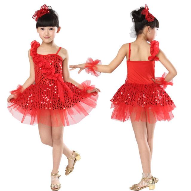 children Latin Skirts Salsa Tango Sequin Dance Girl Fairy Dresses dance costume