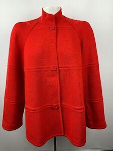 CELINE-Paris-Womens-Button-Front-Sz-36-Red-Wool-Jacket-Coat-Pockets-Mock-Collar