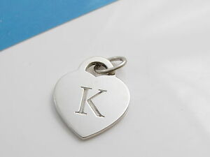 6e975a7f8 Tiffany & Co Silver Alphabet Letter K Heart Charm Pendant For ...