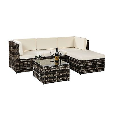 Aluminium 5 Piece Modular Rattan Wide Weave Corner Sofa Set Garden Furniture