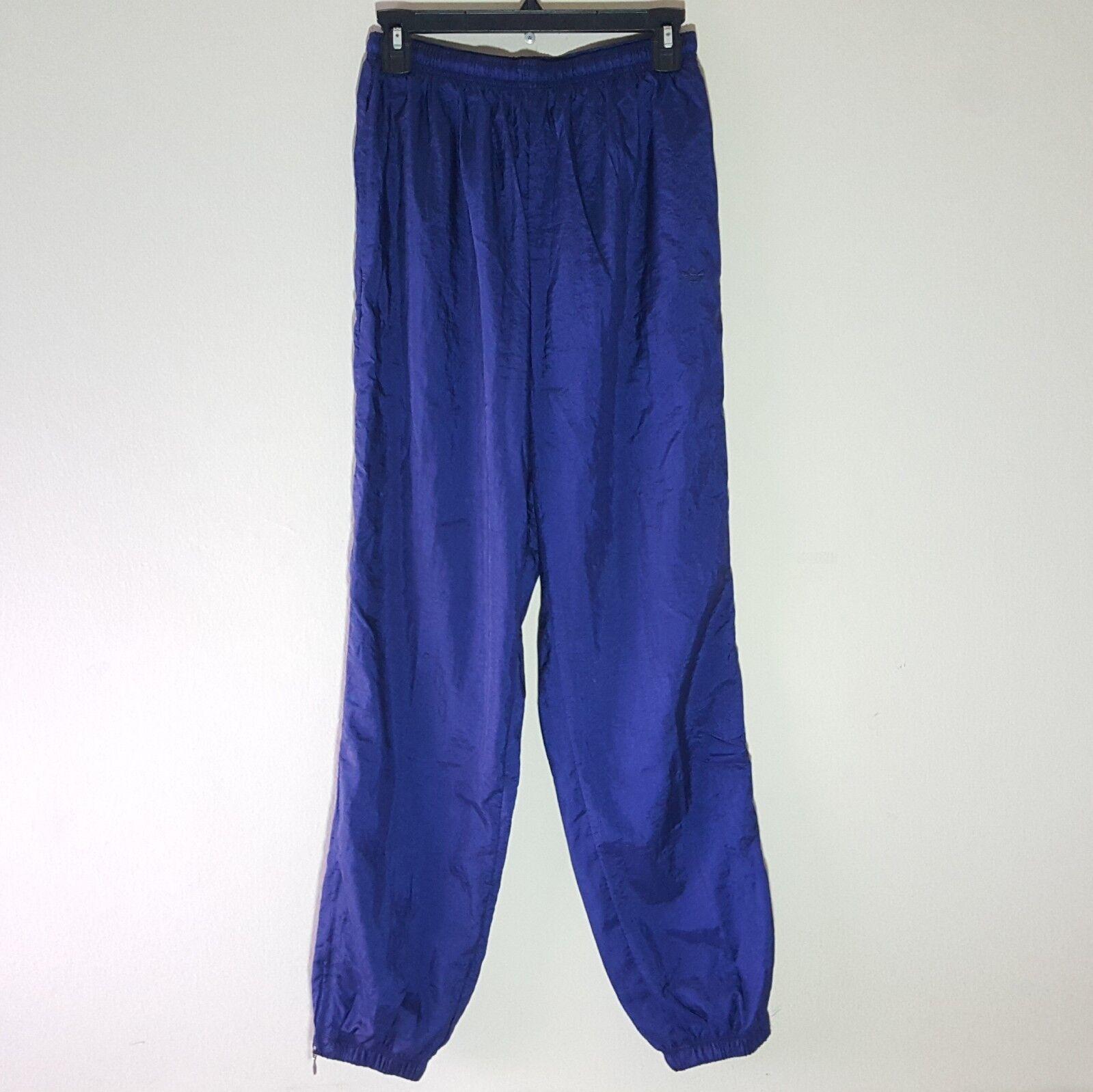 Vintage bluee Adidas Original Trefoil Nylon Sweat Pants Size Small -D3
