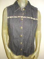 Koret Black Denim Jean Vest Womens Size Medium M