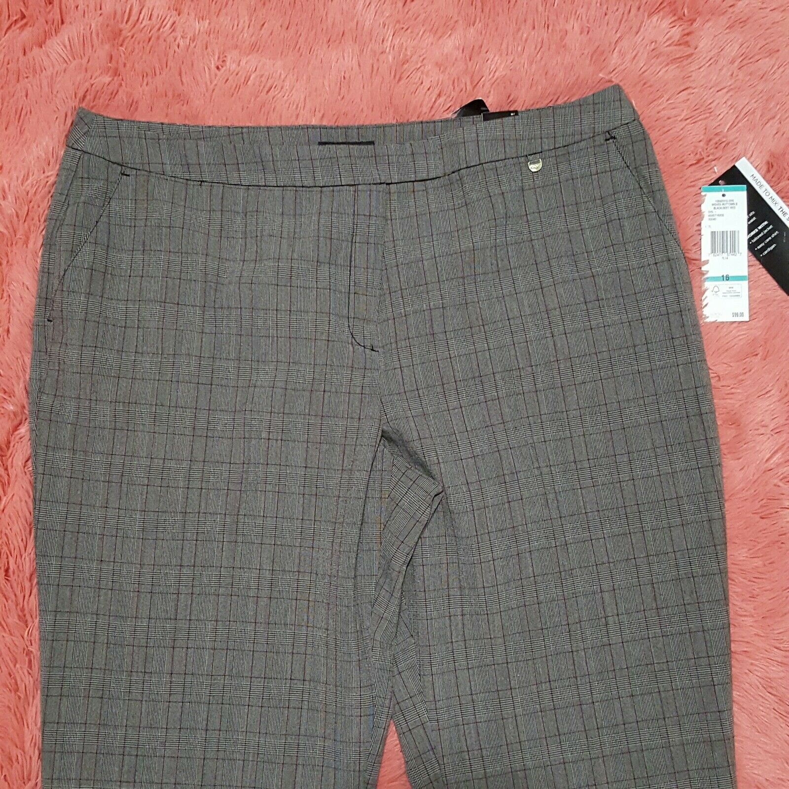 NEW Jones New York Sz 16 Pants 'Sydney Straight Leg Natural Fit Plaid Career  99