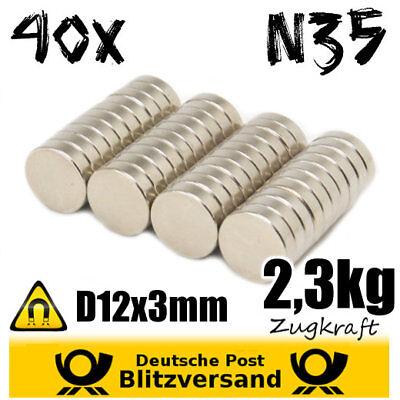 40x Neodym Magnet Scheibe D12x3mm N35 - Postkartenmagnet Magnetset Zaubermagnete