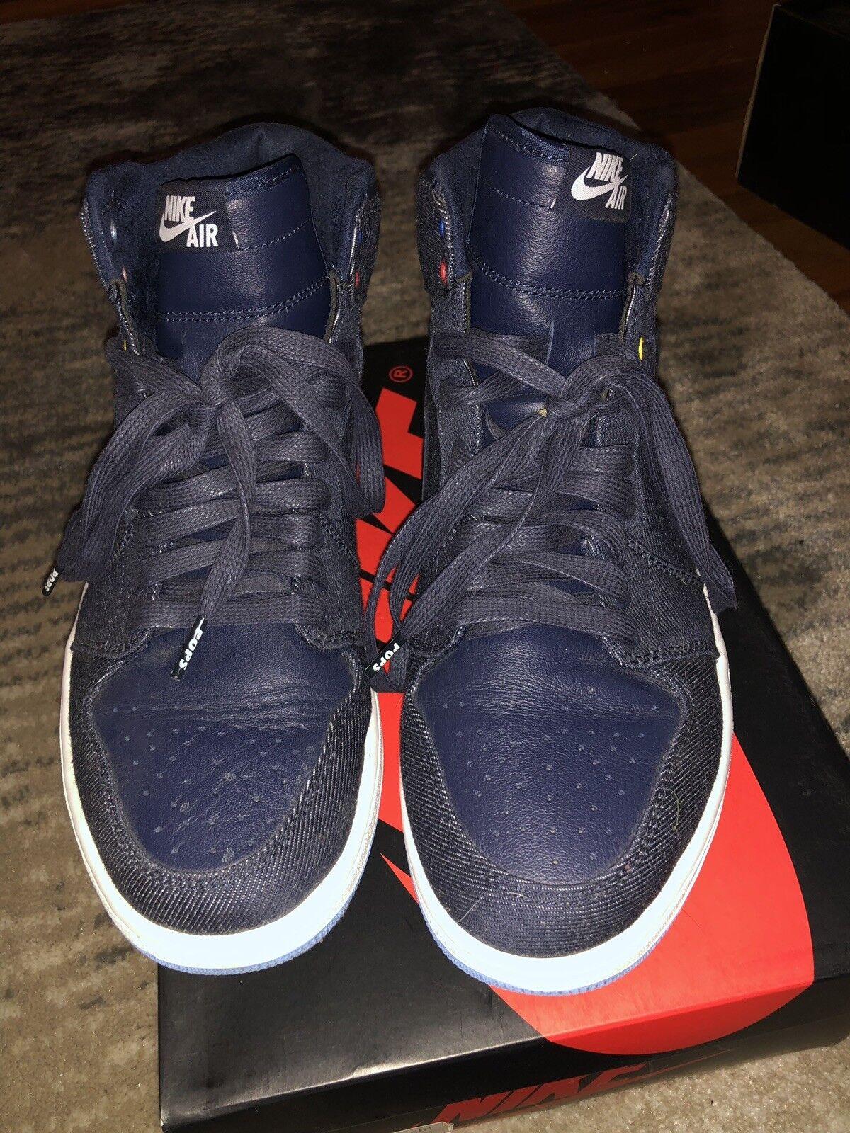 Nike Men's Air Jordan 1 Retro Sneakers - Size 9.5 US, Black