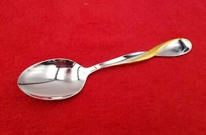 Oval-Soup-Spoon-Golden-Aquarius-by-Oneida-Stainless-Flatware-Silverware-7-034