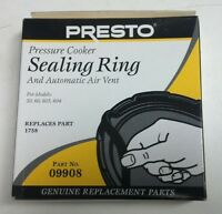 Presto 09908 9908 Pressure Cooker Canner Gasket Sealing Ring & Air Vent Genuine