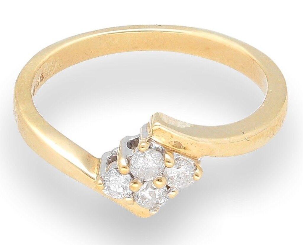 oro Giallo 9 9 9 CARATI 0.20ct Diamante Twisted Cluster Anello (Taglia M 1 2) 973cc2