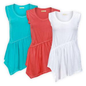 Womens Ladies Cotton Asymmetric Waistline Top Long Line Cut Casual T-Shirt S M L