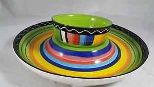 Certified-International-Colorful-Stripe-13-034-Chip-N-Dip-amp-Matching-Bowl