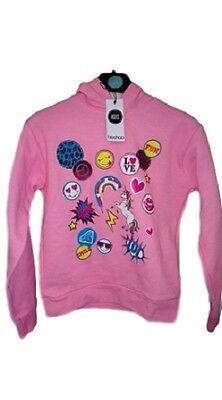 NUOVO Ragazze Bambini Unicorno Emoji Stampa Felpa Con Cappuccio Felpa Con Cappuccio Età 7 8 9 10 11 12 13 | eBay