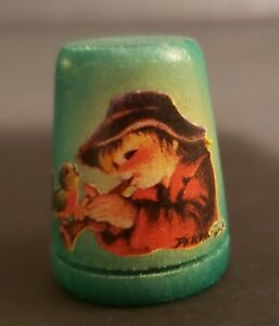 Vintage Collectible Anri Green Wooden Thimble 1981 Italian