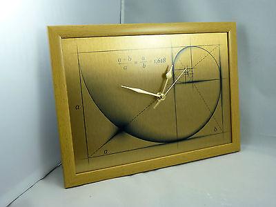 Fibonacci Art - Golden Ratio silent Wall Clock - Print on Metal - Swoosh Style