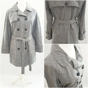 Debenhams-Collection-Mac-Coat-Jacket-Size-14-Belted-Check-Double-Breasted
