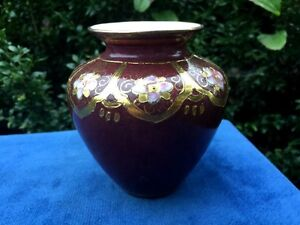 Antique Chinese Rose Famille Burgundy Cloisonne Scroll GOLD Lotus Flower Vase