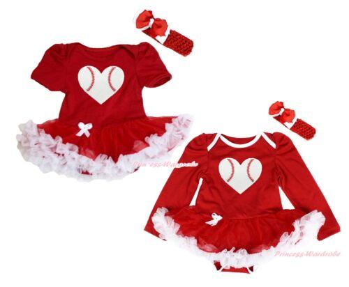 Baseball Heart Red Bodysuit Red White Skirt Girl One Piece Baby Dress NB-18Month