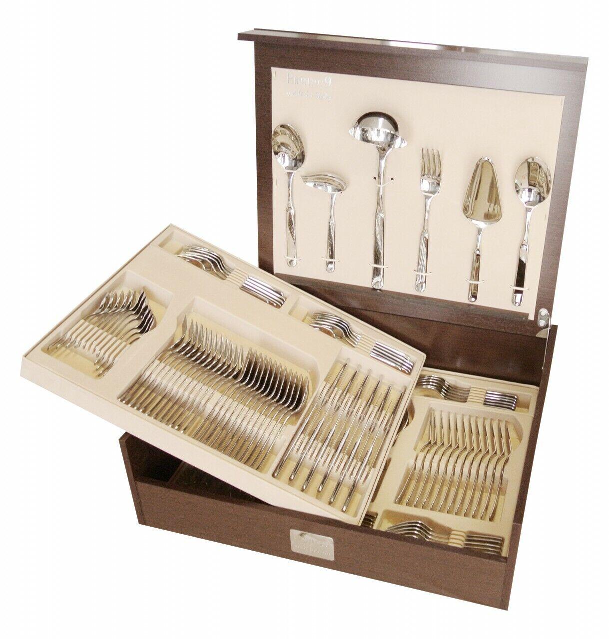 Acier inoxydable design-Table Couverts Pintinox Casali 126 pièces en bois couverts encadré