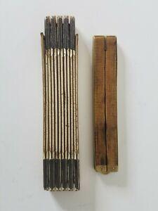 Vintage-Lot-Lufkin-Red-End-Folding-Wood-Rule-Upson-Nut-Co-84-Folding-Rule
