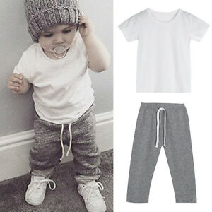 e664491996a Toddler Kids Baby Boy Outfits Clothes T-shirt Tops+Long Pants ...