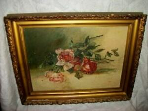1900s-FRENCH-ROSES-OIL-PAINTING-SLIGHTLY-CHIPPY-GESSO-GILT-FRAME-SIGNED-1903