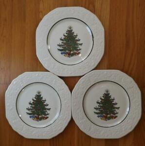 "3 Cuthbertson Dickens Original Christmas Tree Platos Cena Relieve 11"" EXC"