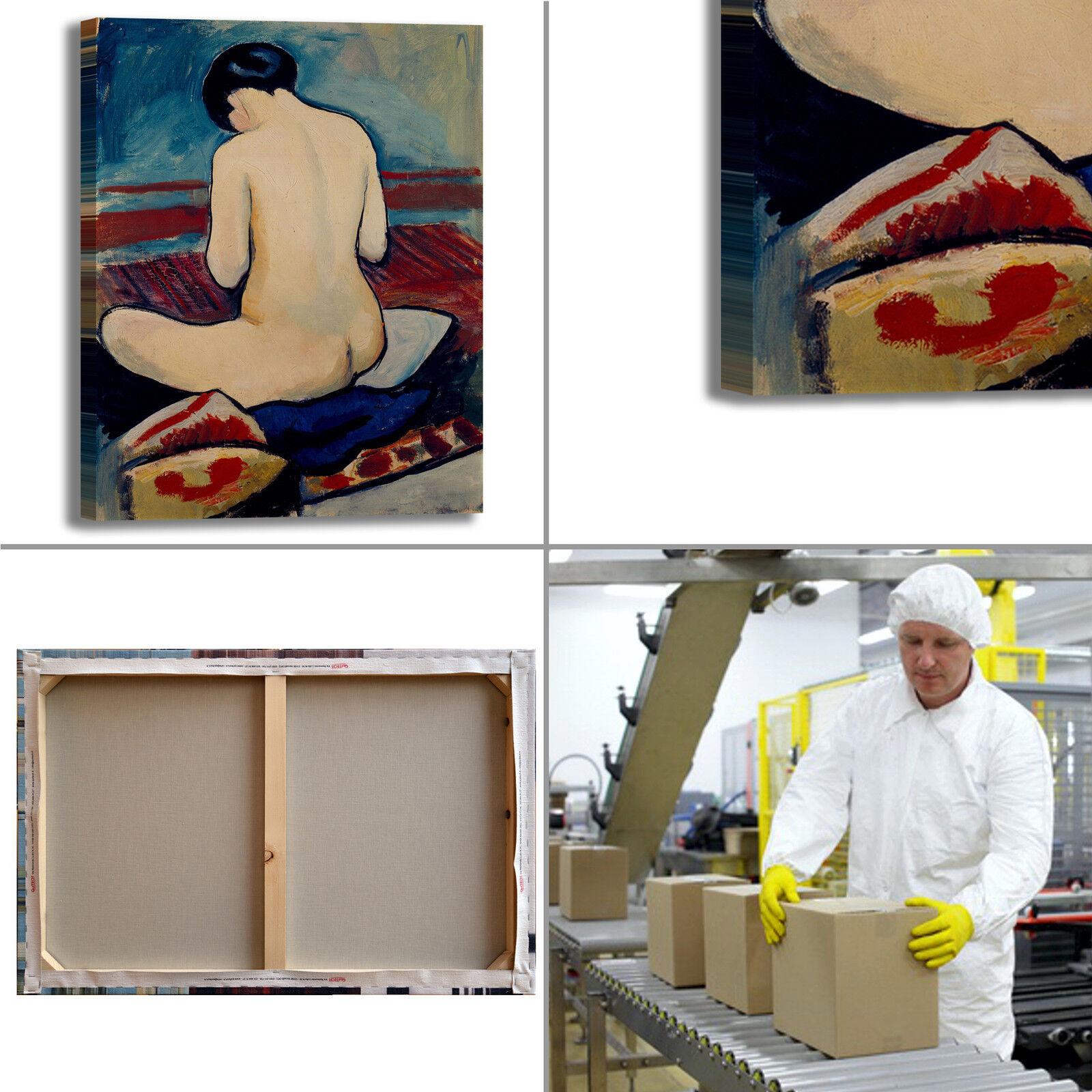 Macke seduto nudo con cuscino quadro stampa tela dipinto dipinto dipinto telaio arRouge o casa 7fa390